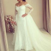 Luxury Vintage Long Sleeves Lace Wedding Dress 2016 Sheath hijab romantico Detachable Train Bridal Wedding Gown robe de mariage