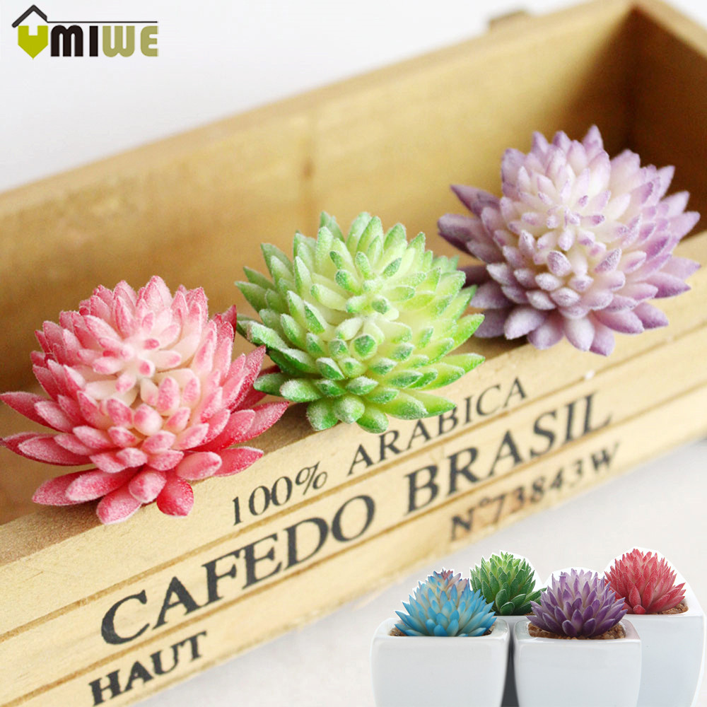 4Pcs/Set Modern Artificial Flower Succulent Plants Green Mini Potted ...