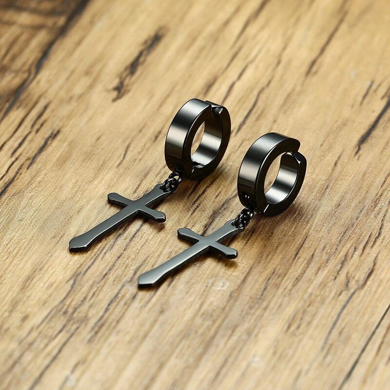 4158049eff2175 1 Pair Men's Cross Hoop Earrings In Black Stainless Steel Crucifix Drop  Huggie Hinged Earings Male Jewelry-in Hoop Earrings from Jewelry &  Accessories on ...