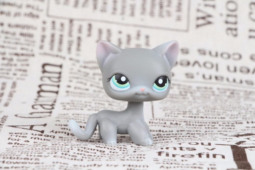 New Pet Collection Figure LPS #126 Gray Cat Kittey With Green Eyes Kids Toys lps new style lps toy bag 32pcs bag little pet shop mini toy animal cat patrulla canina dog action figures kids toys