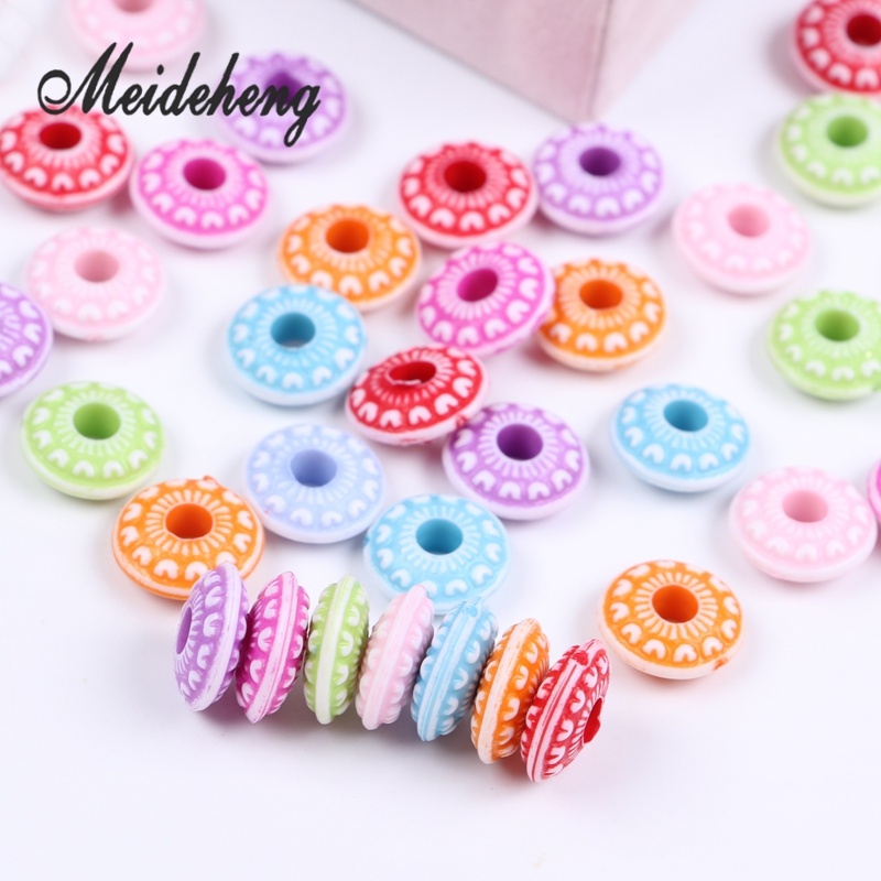 Meideheng Circle beads acrylic mixed color Washing effect jewelry accessories New product 150PCS/80g
