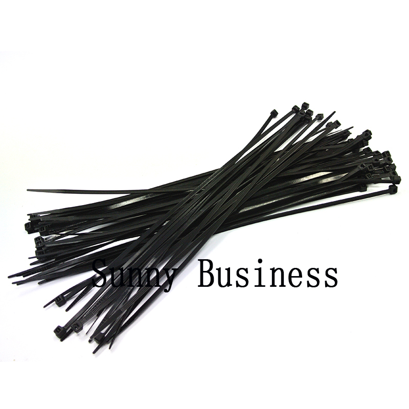 100Pcs 8 Black white Self-Locking Plastic Cable Zip Ties Cable Loop Ties newest 100pcs black 3x150mm nylon plastic zip trim cable loop ties wire self locking hot sale