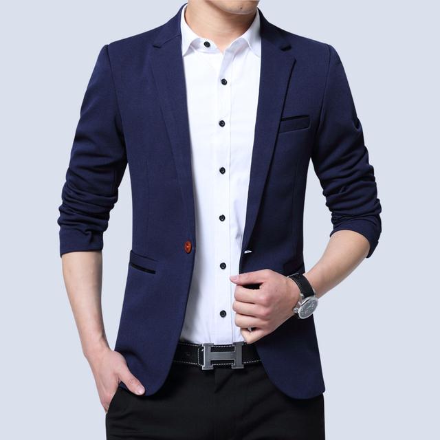 2018 Men's Blazer Autumn Winter Fashion Men's Slim Jacket Thin Single Outwear Coat Men Suits Casual Man Suit Plus Size 5XL
