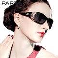 Parzin Óculos Polarizados Mulheres Oco Quadro Designer de Óculos de Sol Das Senhoras Do Sexo Feminino Tons Sunglases Eyewear Preto Com Caso