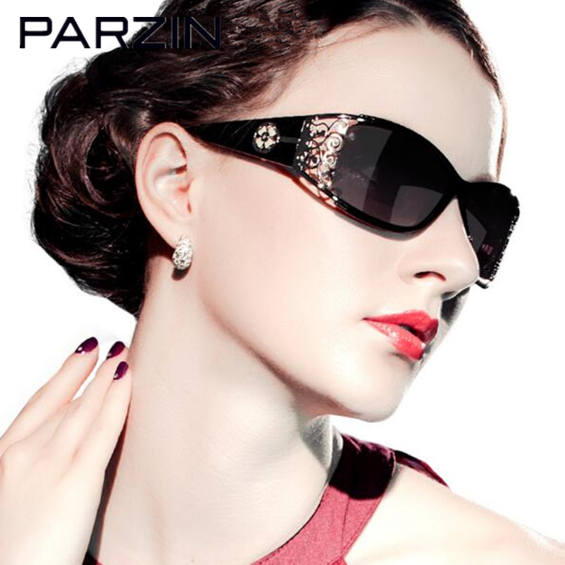 Parzin Polarized Sunglasses Women Hollow Frame Sun Glasses Designer Female Ladies Shades Sunglases Eyewear Black With Case cute skull man figure doll cell phone straps grey 12 pack