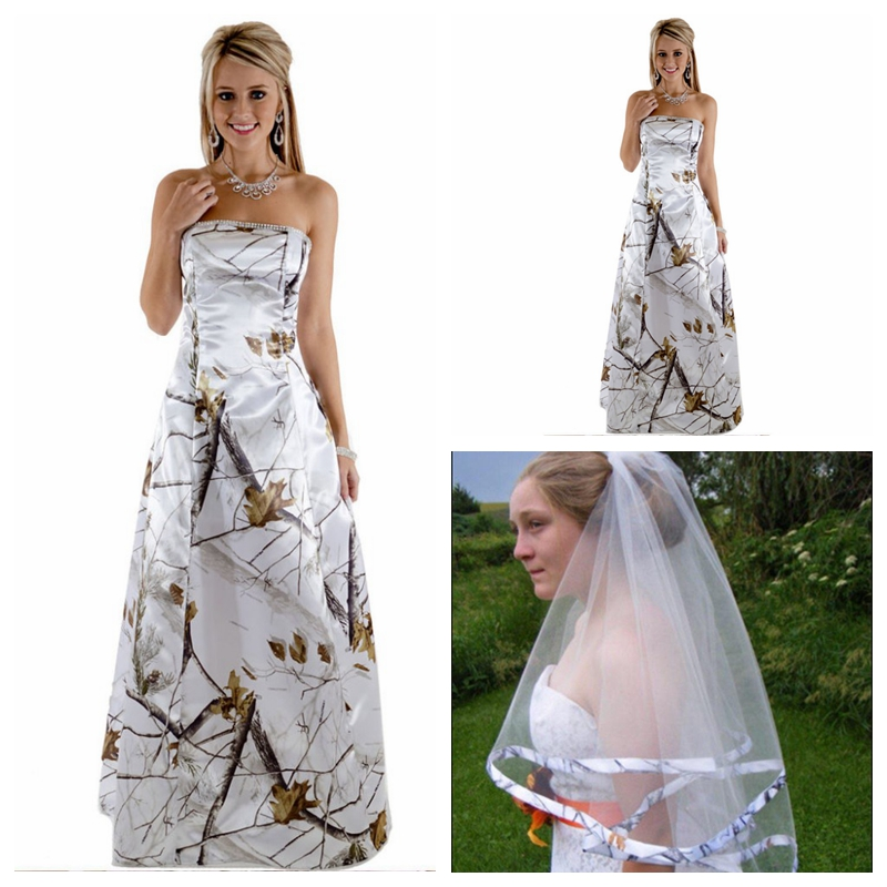 Amazing Snowfall White Camo A-line Wedding Dress Beaded 2019 Bridal Gowns Custom Online Long Vestidos De Mariee Camouflage Sturdy Construction