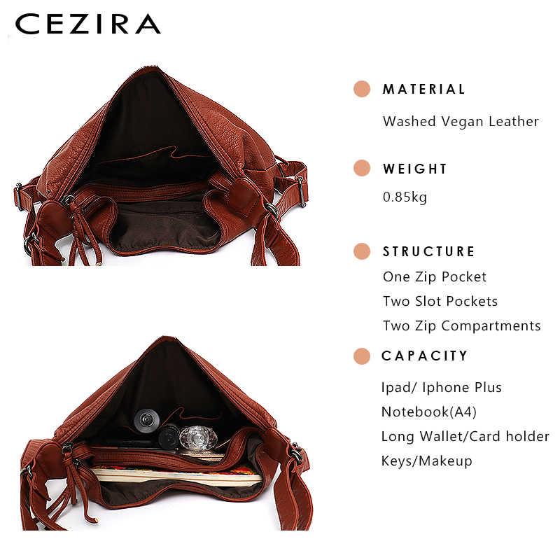 CEZIRA, большие мягкие повседневные женские сумки, функциональный школьный рюкзак для девочек, сумка из искусственной кожи, женская сумка с несколькими карманами, сумка-мессенджер и сумка на плечо