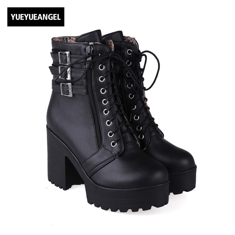 Black Korea Streetwear Fashion Zip Buckle Ankle Boots Womens Autumn New Platform Lace Up Chaussures Femme Motorcycle Bike Shoes new arrival womens fashion high heel lace up ankle boots ladies buckle platform shoes