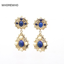 White Faux Pearl Blue Oval Stone Teadrop Drop Earrings Gold Alloy Metal Fashion Trending Women Jewley Wedding Party Accessories