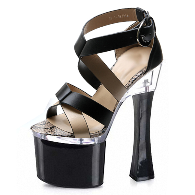 ФОТО 2016 designer shoes The new special offer sandals Black face party shoes 18 cm sexy high heel