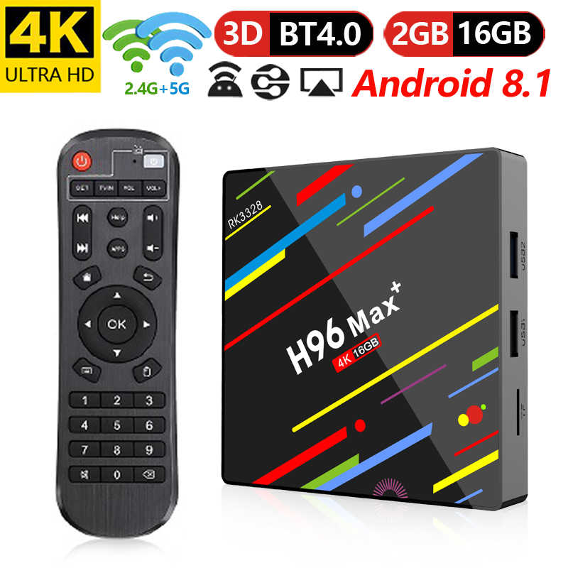 H96 MAX Plus Android 8.1 TV Box inteligente décodeur Rockchip RK3328 2 GB 16 GB 2.4G/5 GHz WIFI USB3.0 H.265 4 K PK T9 HK1 X96.