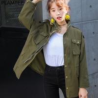 PLAMTEE Autumn Printing Windbreaker Female Long Sleeve Jaqueta Feminina New Slim Korean Style Army Green Jacket Women S L