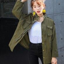 PLAMTEE Autumn Printing Windbreaker Female Long Sleeve Jaqueta Feminina New Slim Korean Style Army Green Jacket Women S-L