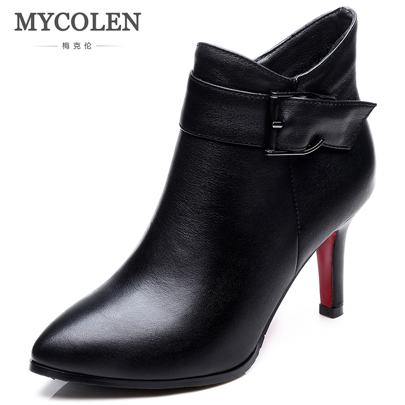 MYCOLEN New Fashion  Women Ankle Boots 2018 New Buckle Pointed Toe Solid Stilettos Shoes Fashion Comfort Chelsea Boots BlackMYCOLEN New Fashion  Women Ankle Boots 2018 New Buckle Pointed Toe Solid Stilettos Shoes Fashion Comfort Chelsea Boots Black