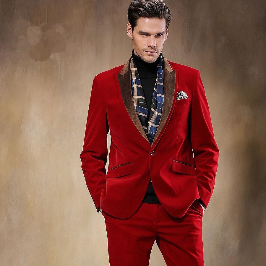 red velvet prom suit dress yy