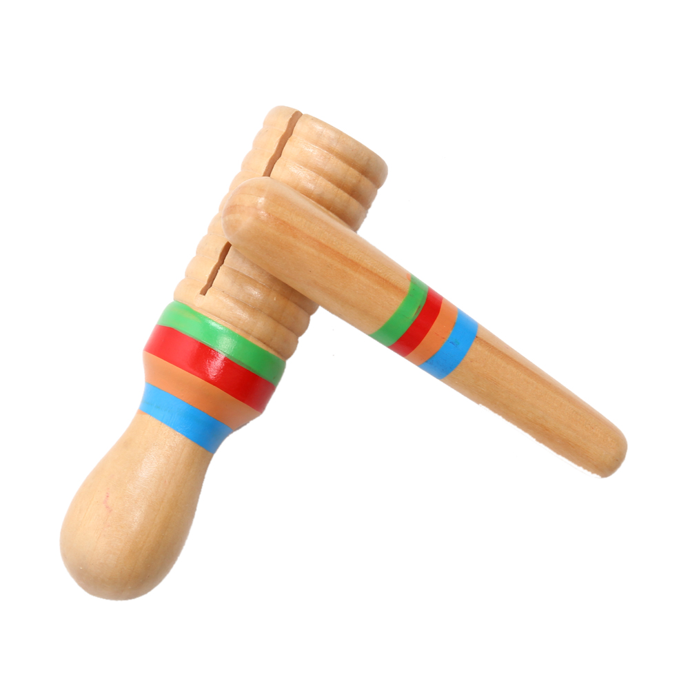 Kid Toys Sound Tube Wooden Musical Instrument for Children Small Single-threaded Ring Percussion Cylinder Croak Frog Barrel