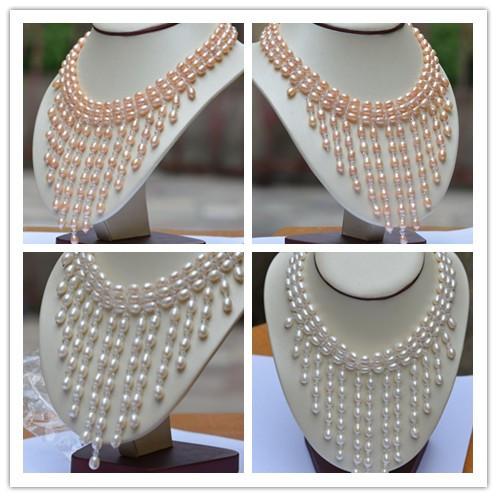 Dom mulheres palavra Amor Moda feminina Jóias 2 opções Naturais 7-8mm AAA colar de pérolas de jóias