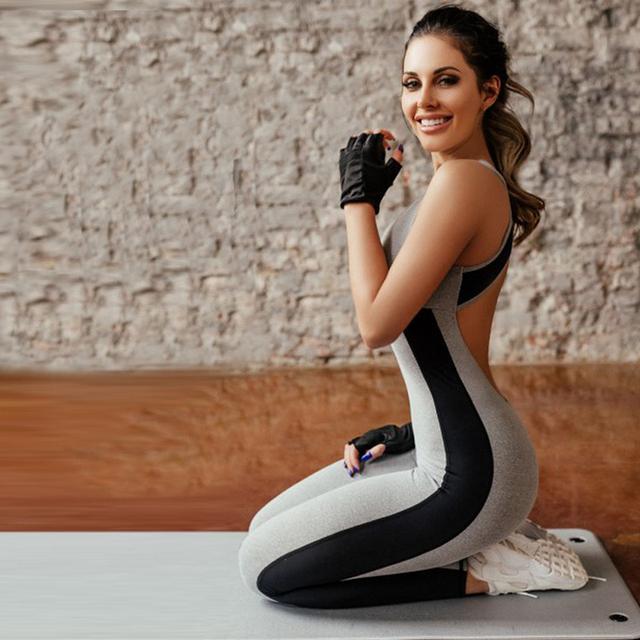 Women's Gray Soft Yoga Jumpsuit