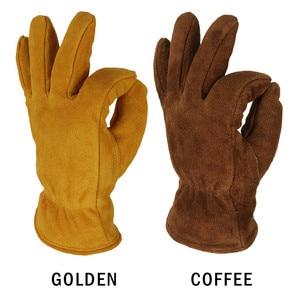 Image 4 - Мужские рабочие перчатки OZERO, теплые зимние кашемировые перчатки из воловьей кожи, с защитой от ветра, 2008