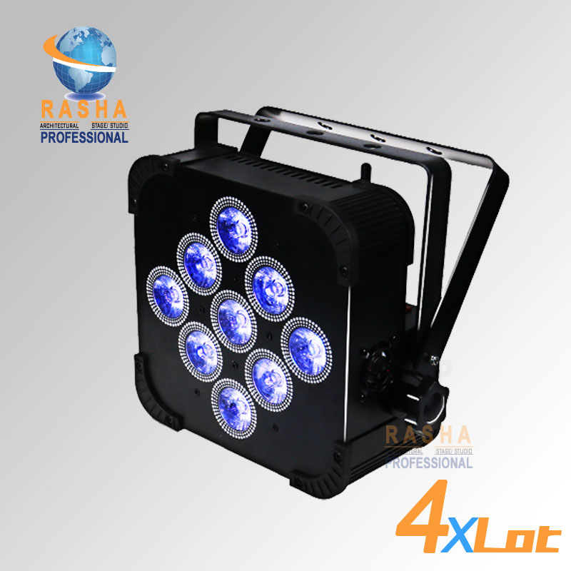 4PCS LOT Rasha High Brightness 9pcs 18W 6IN1 RGBAW UV Battery Powered Wireless LED Flat Par
