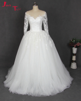 Jark Tozr Vestidos De Noiva Long Sleeve Ivory White Tulle Winter Luxury Ball Gown Wedding Dresses