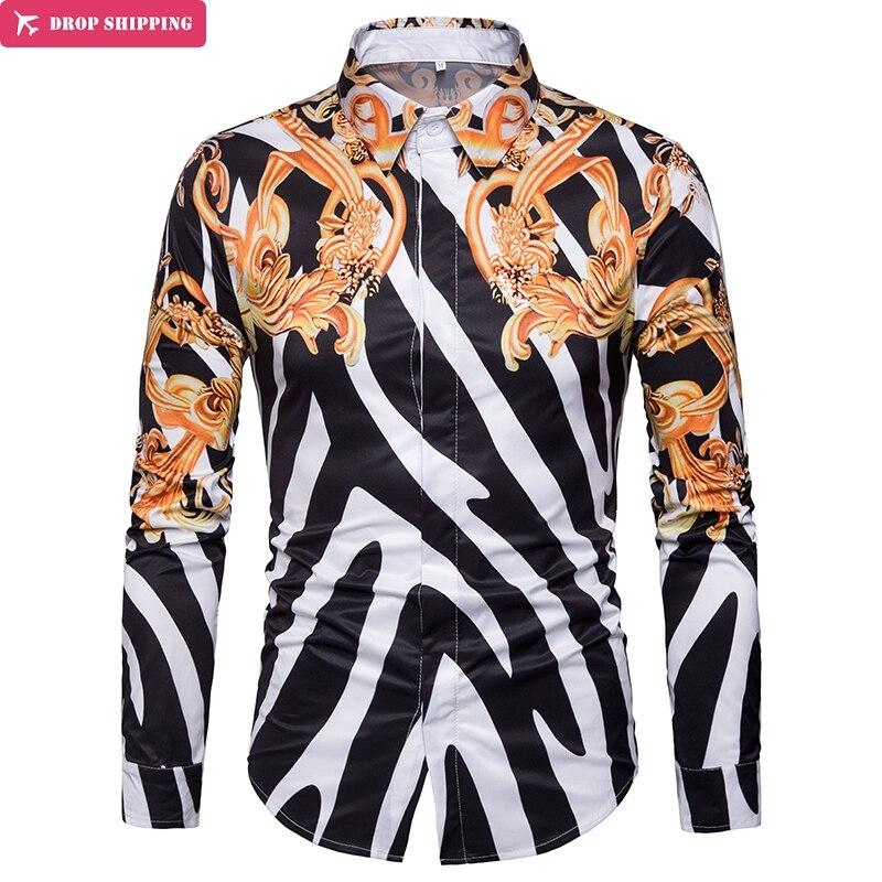 DropshippingFloral Print Men Shirt Slim Fit Camisa Masculina  Striped Design Mens Long Sleeve Dress Chemise Homme