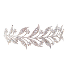 Luxury Silver Crystal Leaf Vine Bridal Tiaras Wedding Headband Hair Accessories Rhinestone Pageant Prom Crown Bride Head Jewel недорого