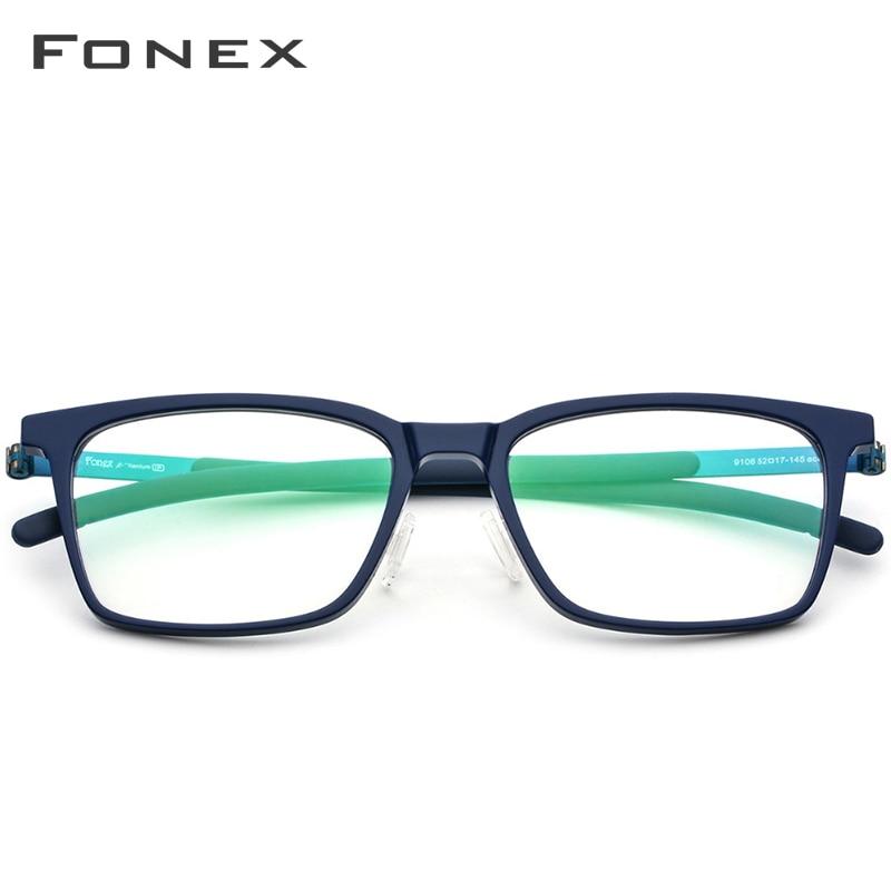 B pur titane lunettes cadre hommes acétate 2018 nouvelle haute qualité carré myopie optique Prescription lunettes sans vis lunettes - 3
