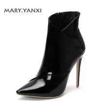 Winter Women Shoes Ankle  Chelsea Short Boots Patent Leather Pointed Toe Thin High Heels Big Size Fashion Solid Lady Shoes цены онлайн