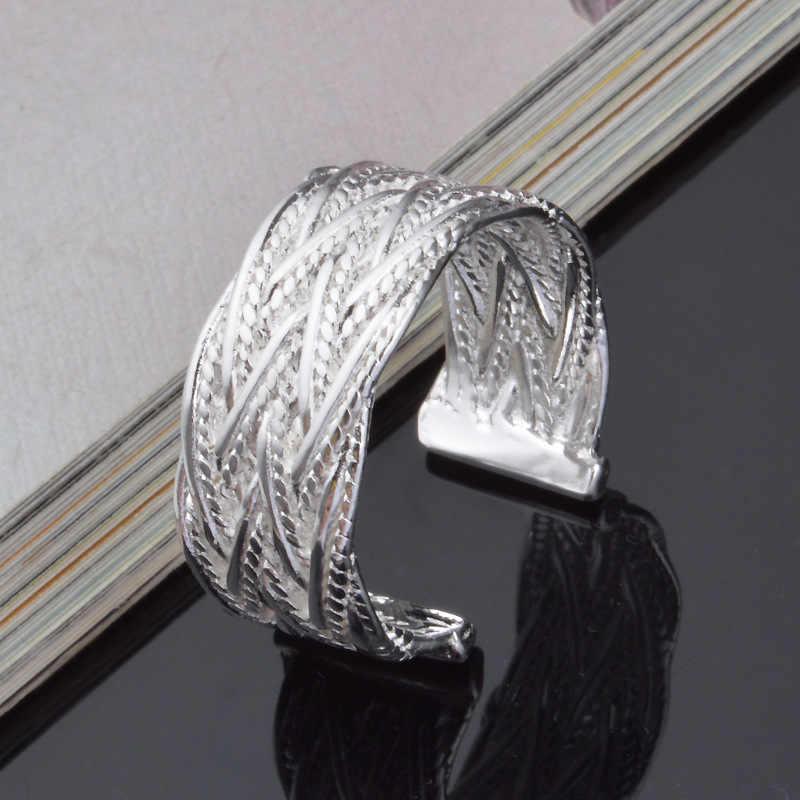 OMHXZJ ขายส่งบุคลิกภาพแฟชั่น OL ผู้หญิงสาวงานแต่งงานของขวัญเงินเส้นทอเปิด 925 เงินสเตอร์ลิงแหวน RN250