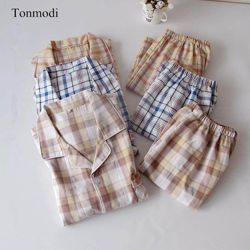 NEW Men's Sleepwear Cardigan Cotton Short Sleeve Pyjamas Shorts Double Layer Cotton Yarn Men Lounge Sleep Pajama Set Plaid