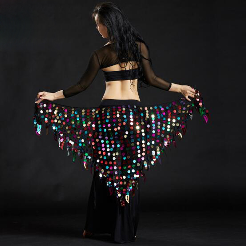 Sequined Triangle scarf shawl belly dance costume Ladies bellydance waist chain belly dancing hip towel mermaid hip towel