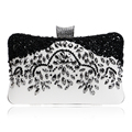 Fashion Pu Lady Beaded Handmade Evening Bags Black White Color Chain Day Clutches Handbags For Wedding Evening Bag