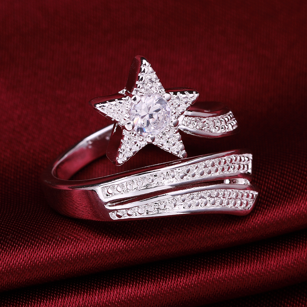 Good craft is not allergic free shipping classic fashion star modeling inlaid zircon silver ring ladies wind