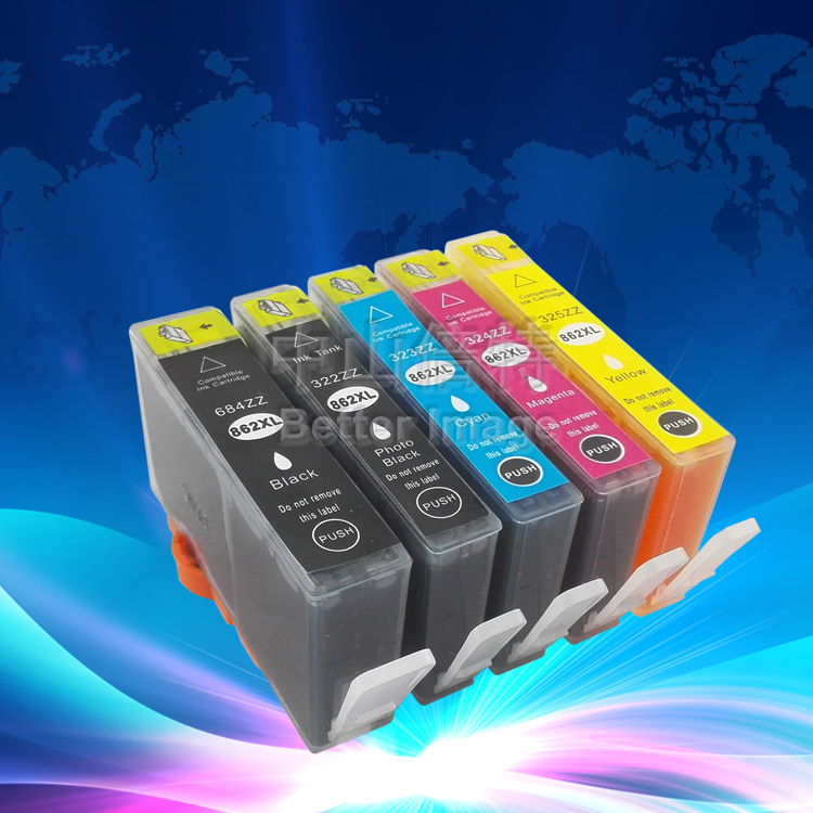 5 Pack Ink Set for HP862XL with Chip for HPC5393 and suitable for HPC5370 C309A C309G C310A C410D