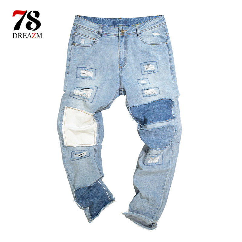 Men Casual ripped jeans Male Brand Straight Hip hop Trousers Long Pants Cotton Sweatpants Jogger Tracksuit Funky Sweatpants XXL