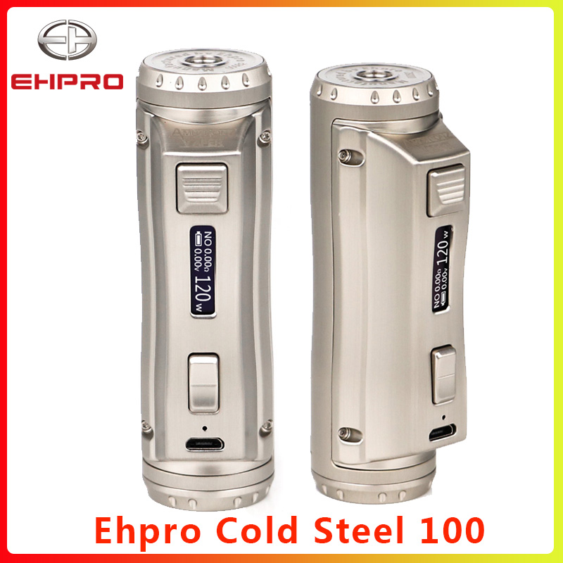 Newest Ehpro Cold Steel 100 120W TC Vape MOD 0.0018S Ultrafast Firing Speed Fit 21700/20700/18650 E Cigarette TC Control Mod