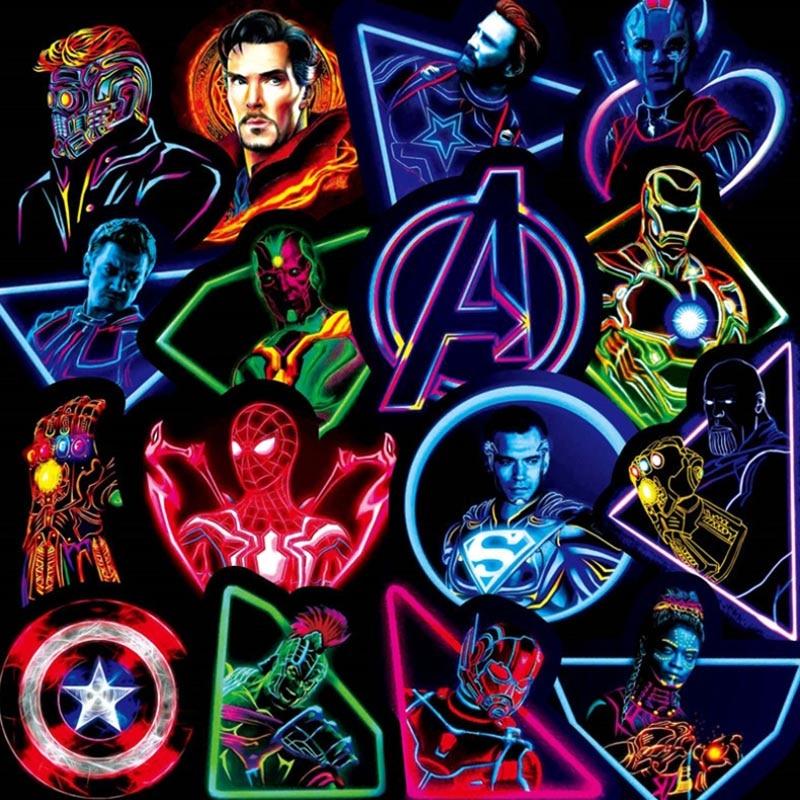 30PCS Neon Marvel Super Hero The Avengers Stickers Skateboard Fridge Phone Guitar Motorcycle Luggage PVC Waterproof Stickers