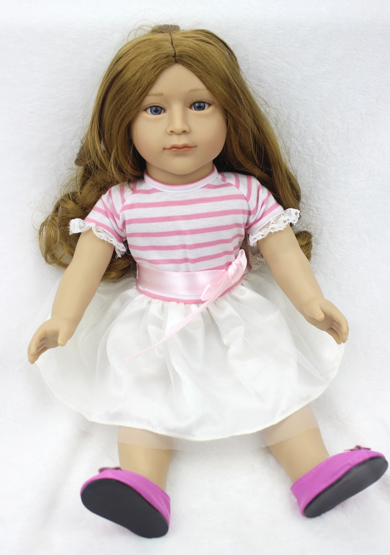 Pursue Hot 18 Inch/45 cm Novelty Soft Plastic American Girl Dolls Princess Doll Toys Lifelike Baby Doll for Children Best Gift 18 inch soft american girl dolls princess doll 45 cm lovely lifelike baby toys for children present