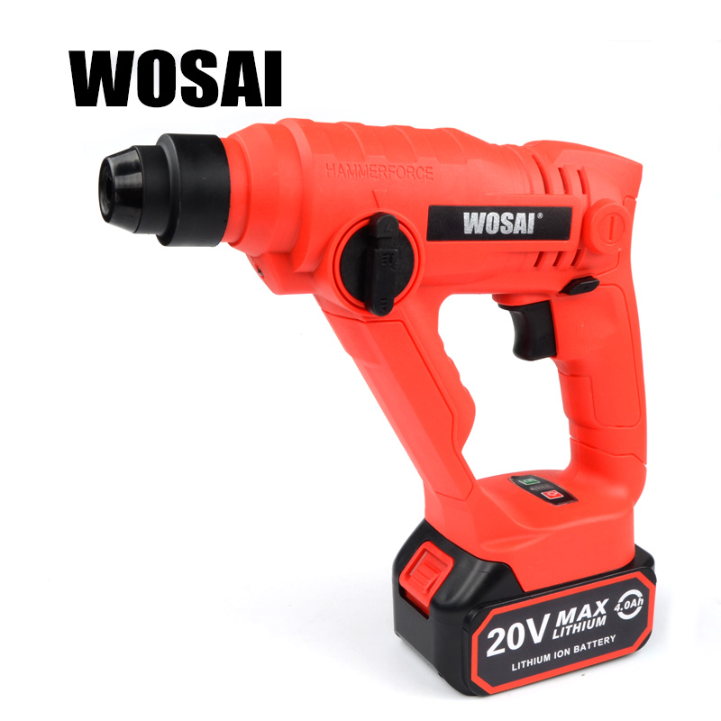 WOSAI 20V Lithium Battery Rotary Hammer Power Tool Cordless Hammer Electric Drill wosai 20v lithium battery max torque 380n m 4 0ah brushless electric impact wrench diy cordless drill cordless wrench