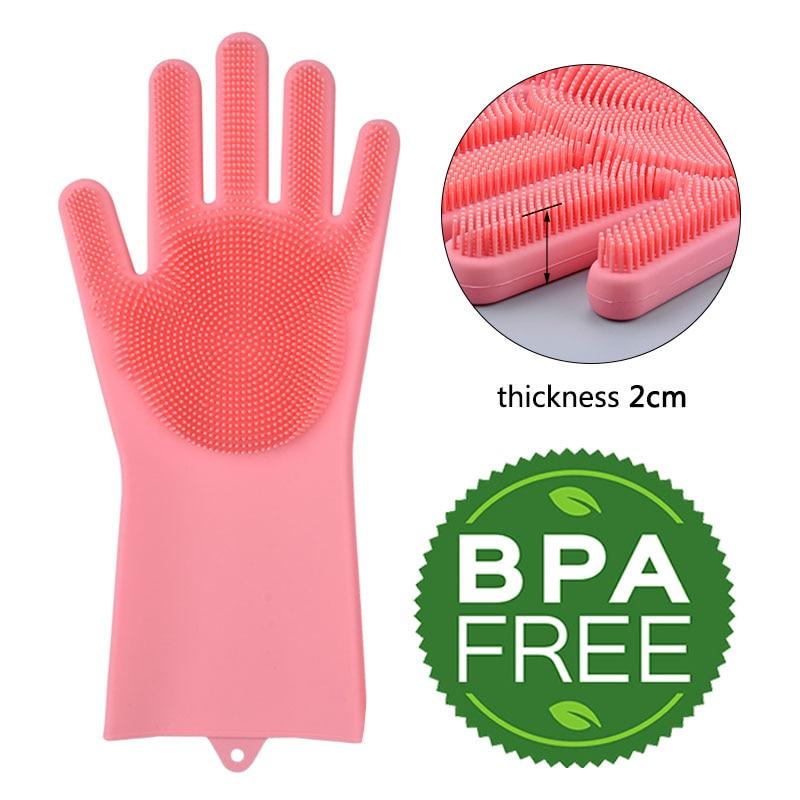 Кухня Силиконовый перчатки мытья посуды волшебные силиконовые блюдо моющиеся перчатки легко бытовой силиконовый скруббер резиновые перча...