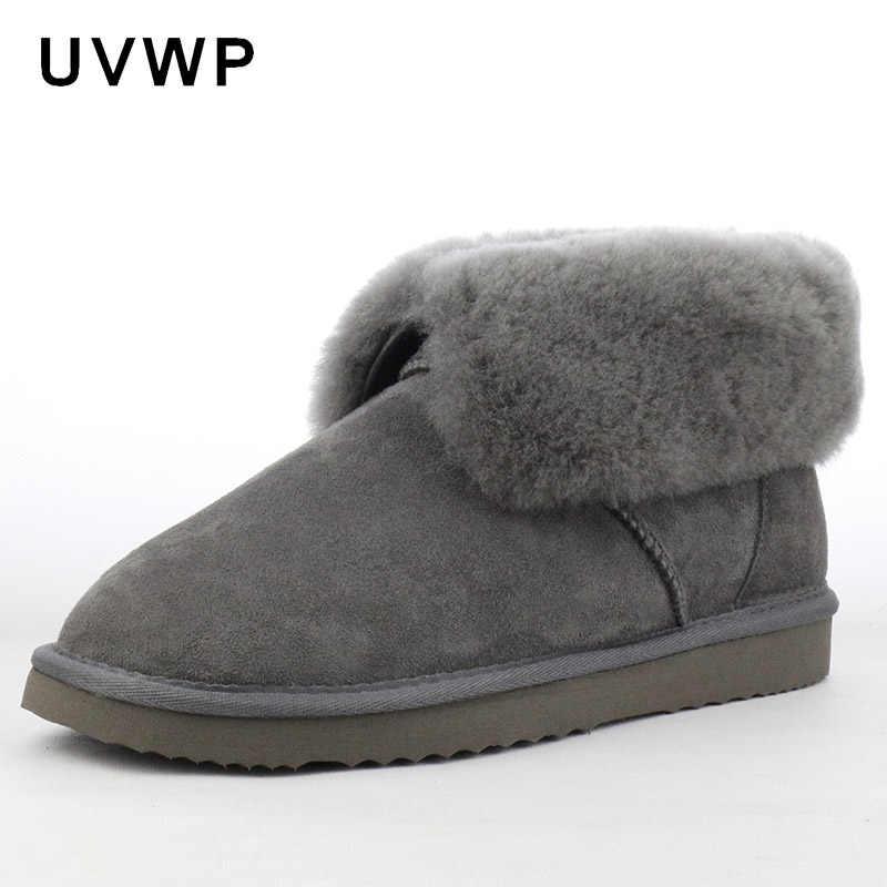 6469bb1dba9d Fashion Men s Snow Boots Genuine Sheepskin Male Winter Boots 100% Natural  Fur Warm Wool Ankle