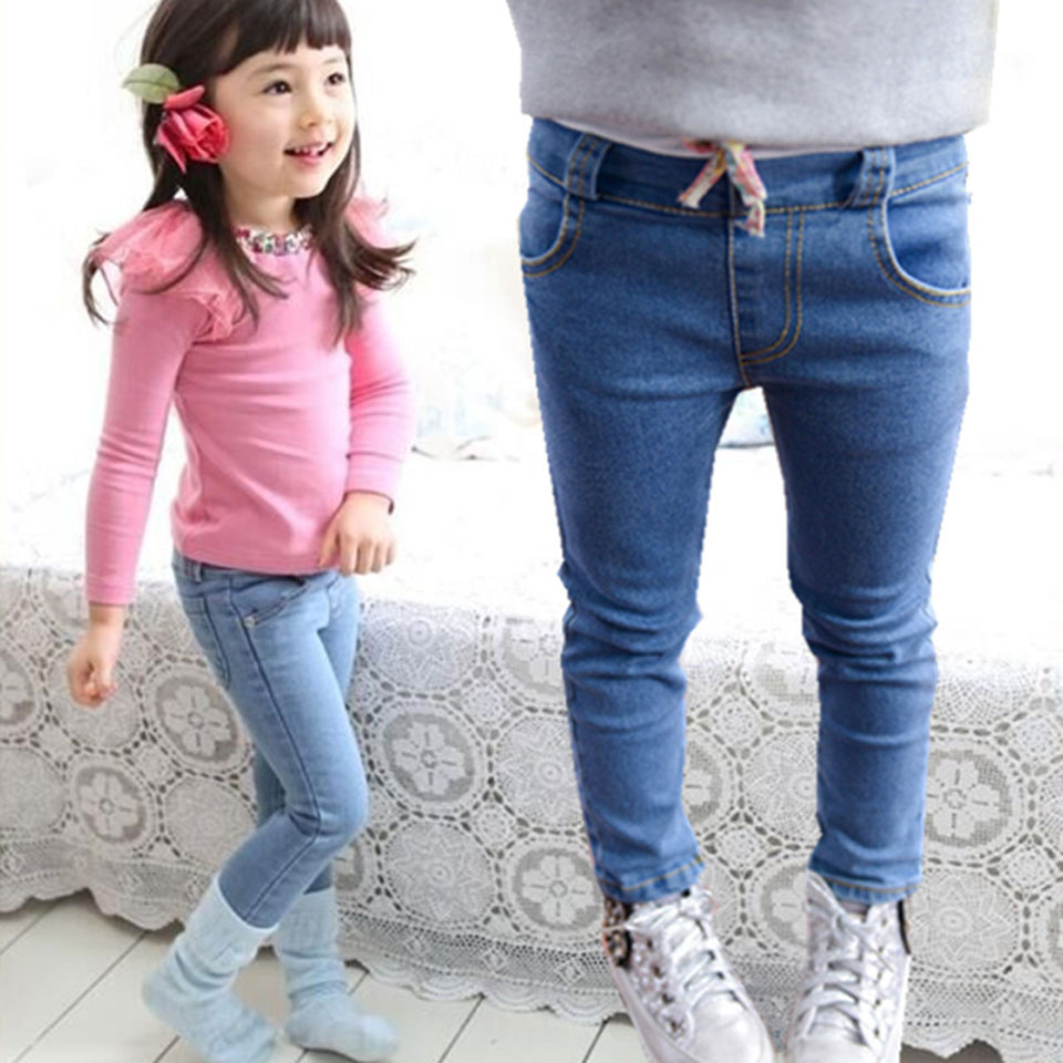 2018 New Style Girls Jeans Kids Clothing Pants For Girls Spring Trousers Children Jeans Elastic Waist Solid 2 Colors Fashion 2017 spring new embroidered jeans color embroidered national wind low waist jeans trousers