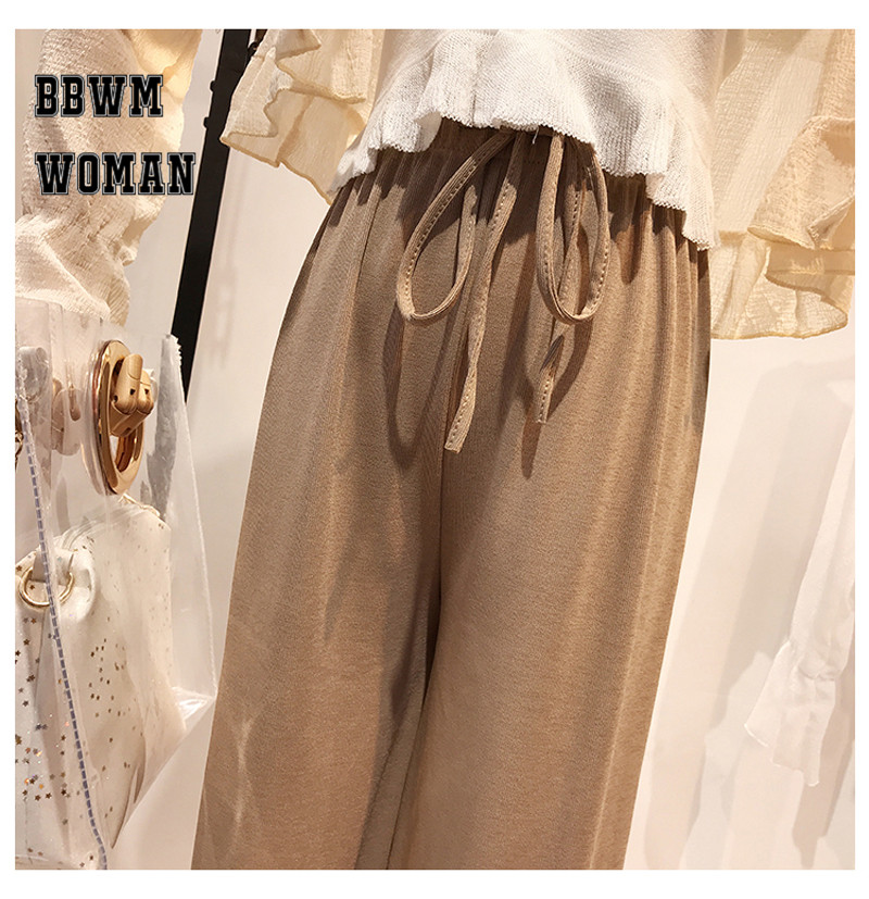Korean Summer Ice Silk Knit High Waist Wide Leg Pants Ankle Length Straight Casual Fashion Trousers ZO437 47