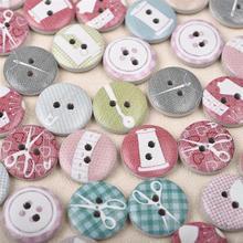 50 шт. 15 мм Швейные Инструменты с рисунком, деревянные кнопки, разные цвета, круглые деревянные кнопки для одежды, украшения одежды своими руками