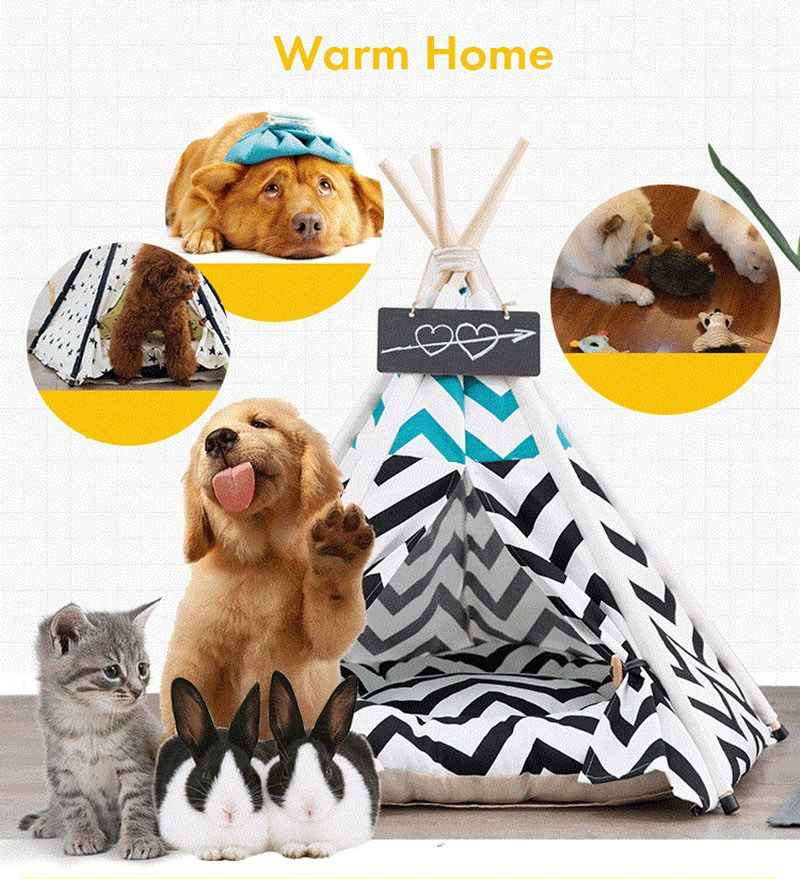 Portable Washable Pet Teepee Tent Nest