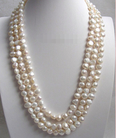 Wholesale Free Shipping 100 Natural Jewelry 16 Baroque 3row White Freshwater Pearls Necklace