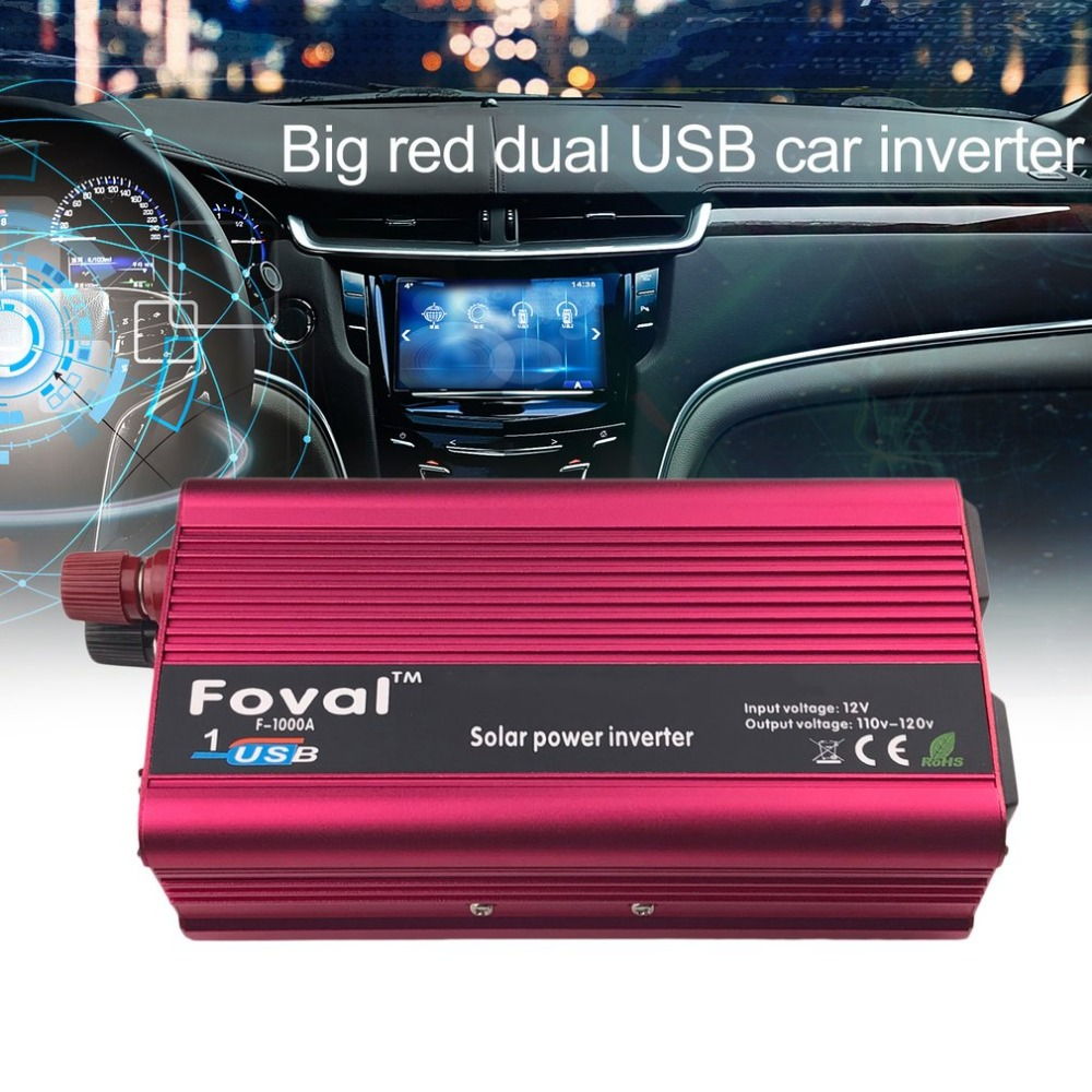 New 3000W DC12V To AC110V Car Power Inverter Aluminum Alloy Dual USB Charger Converter Transformer High Converting Efficiency
