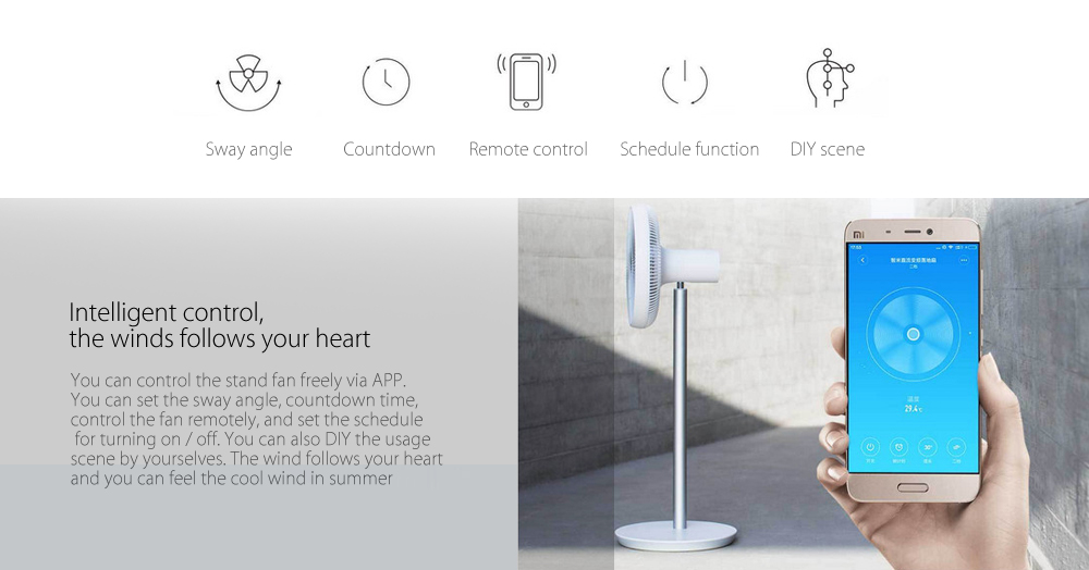 Original Xiaomi Mi Smart DC Frequency Electric Stand Fan with APP Remote Control Natural Wind