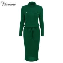 Winter High Elasticity knitted bodycon dress women casual long sleeve waist tie dress Elegant warm slim